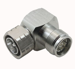 MINI DIN Tipe rf konektor coaxial 4.3 / 10 Male to 4.3 / 10 Female Right Angle Adapter pemasok
